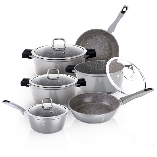Berlinger Haus 10 pcs cookware set  + 6 PCS SILICONE HANDLE Granit Diamond Line